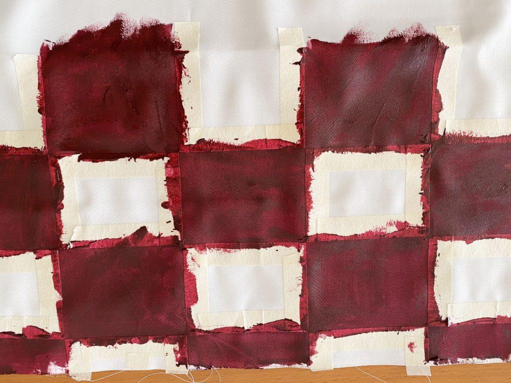 ねずこの帯の市松模様を塗る